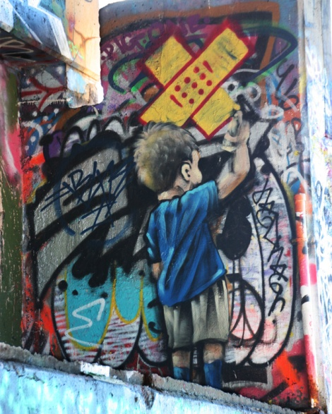 Axe at the Papineau legal graffiti wall