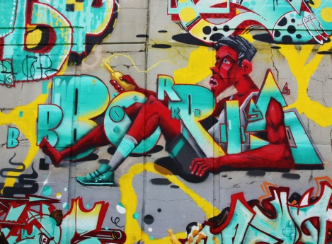 Close-up on Borrris's piece on the 203 crew wall at Festival de Canes