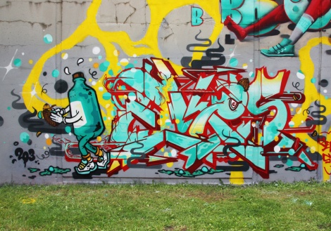 Close-up on Ekes's piece on the 203 crew wall at Festival de Canes