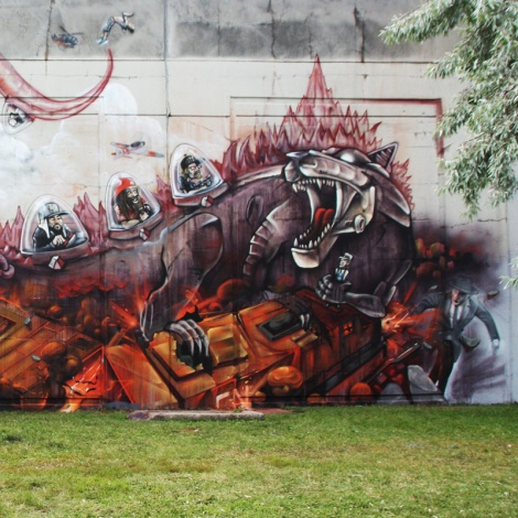 detail from the K6A wall at Festival de Canes