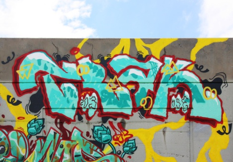 Close-up on Trak's piece on the 203 crew wall at Festival de Canes