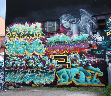 TFS/POM wall for the 2017 edition of Under Pressure featuring Rizek, Apok, Resok, Myrage, Eskro, Serum and EK Sept