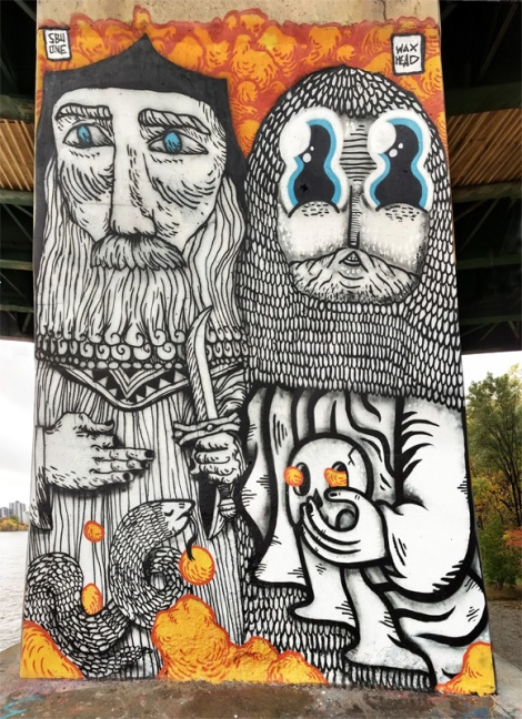 SBU One (left and ground) and Waxhead (right and top) on a bridge pillar