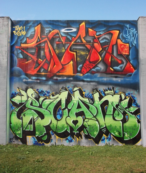 Tributes to Scaner by Johste (ground level) and Joek One (above), from the 2017 edition of the Lachine graffiti jam