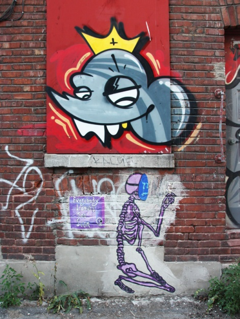 Tribute wheatpaste to Scaner by Lost Claws beneath an actual 'Mr Can Do' by Scaner