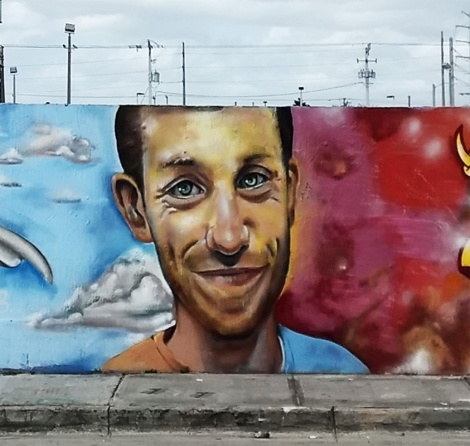 close-up on Disem's portrait of Scaner in a tribute to Scaner in Wynwood, Miami