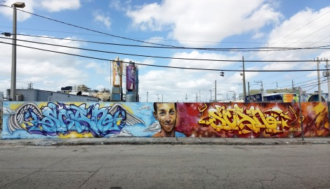 Tribute to Scaner in Wynwood Miami, by Eskae on letters and Disem on Scaner portrait