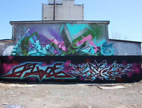 Five Eight (left) and Cemz (right) on a A'Shop wall in Hochelaga