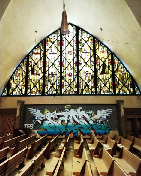tribute to Scaner by Myrage and Eskro in an abandoned church