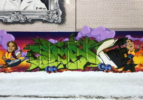 Tribute to Scaner by Stare and Zek, from a long tribute wall also involving Benny Wilding, in central Montreal
