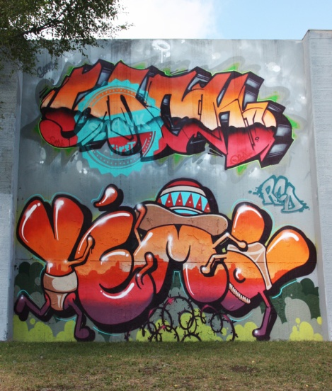 Snok (top) and Yema (bottom) for the 2017 edition of the Lachine graffiti jam
