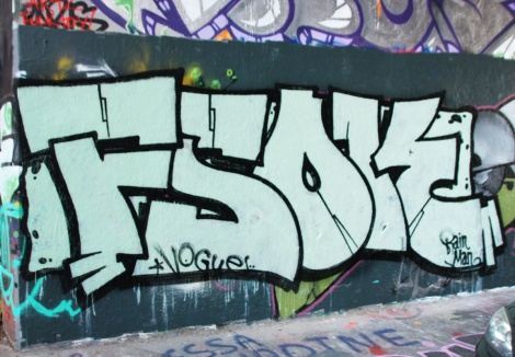 Vogue doing the name of his crew FSOK at the Rouen legal graffiti tunnel