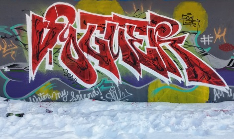 Winter piece by Voguer at the PSC legal graffiti wall