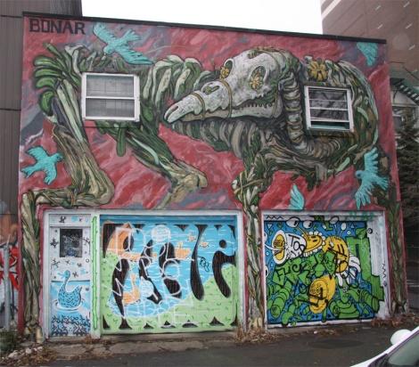Bonar (wall), Algue (door and first garage door), Nixon (second garage door) in the Plateau