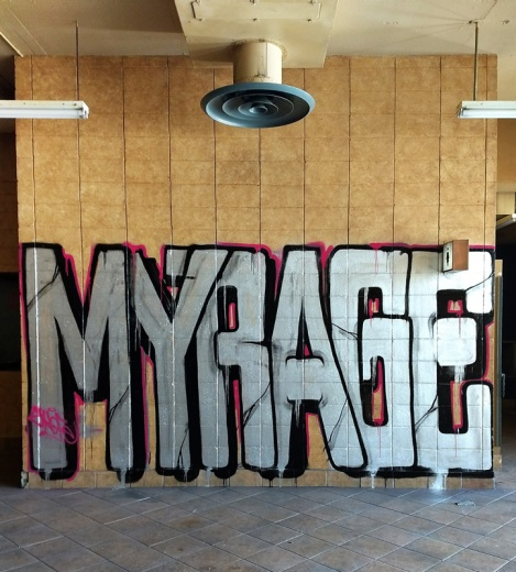 Myrage at the Montreal Hippodrome's abandoned main building