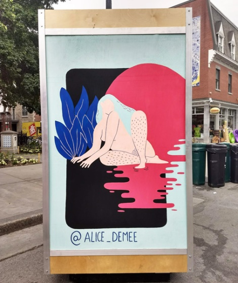 Alice Demee on the reverse of an ad/info board for the 2018 edition of Mural Festival