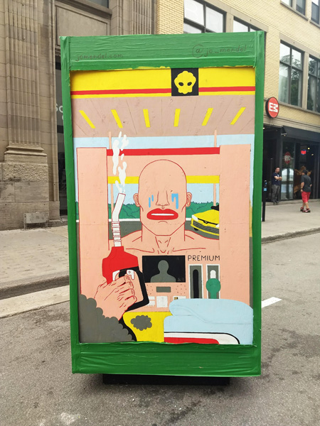 Jo Mendel on the reverse of an ad/info board for the 2018 edition of Mural Festival