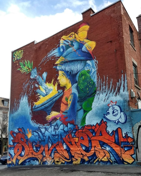Jeremy Shantz's contribution to the 2018 edition of Mural Festival. Scaner tribute at the base by Fonki, Serak and Smak.