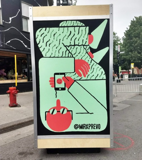 Max Prevo on the reverse of an ad/info board for the 2018 edition of Mural Festival