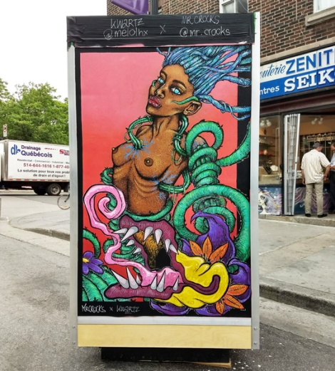 Mr Crocks and Kwartz on the reverse of an ad/info board for the 2018 edition of Mural Festival