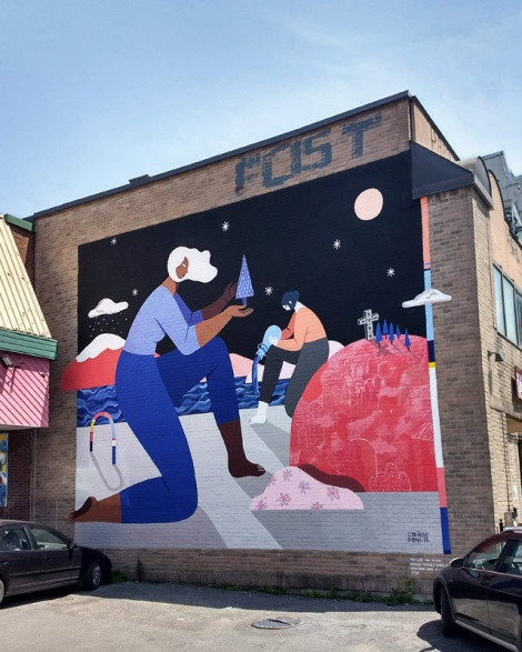 Poni and Cyrielle Tremblay's contribution to the 2018 edition of Mural Festival