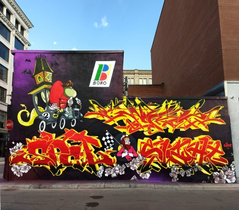 The Boro wall for the 2018 edition of Under Pressure featuring Cemz (top letters), Esprit (left half) and Sight (bottom right letters)