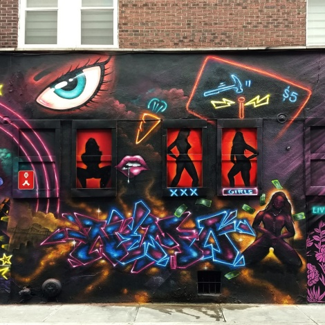 Segment 4/5 of a Under Pressure 2018 wall featuring Haks, Capes, Nemo, Lapin and Vedas