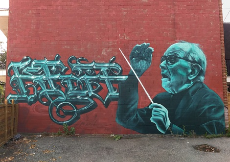 Serak on letters and Awie on portrait of Ennio Morricone, in St-Henri