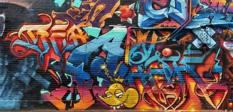 close-up on Serak and Awe's part in the K6A wall for the 2018 edition of Under Pressure
