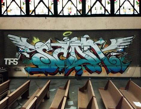 tribute to Scaner by Eskro and Myrage in an abandoned churche