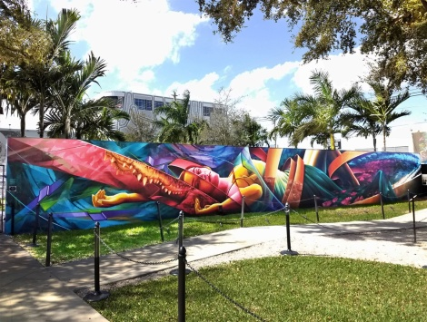 Ashop's long wall, by Fluke, Zek, Dodo Osé and Ankh One, at Wynwood Walls for the 2018 edition of Art Basel