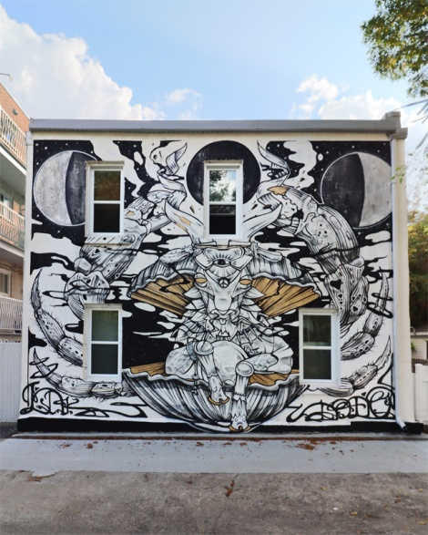 Dodo Osé and LNK mural for the 2021 edition of Canettes de Ruelle