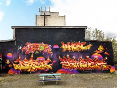 4-man graffiti wall featuring Histo (top left), Riken (top right), Dodo Osé (bottom left), Fuser (bottom right)