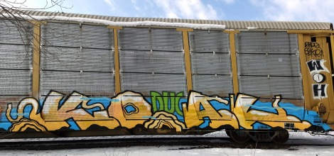 Koal on a parked train