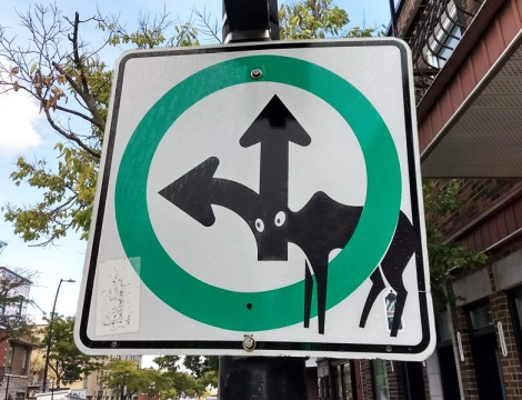 Clet redirected traffic sign