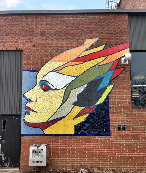 mosaic piece by Gascon in Ville-Marie