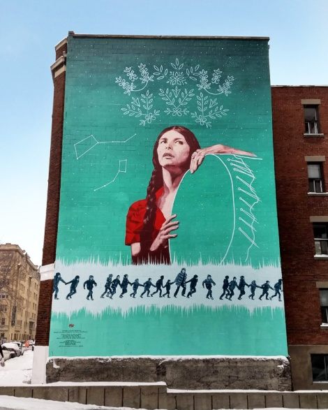 downtown tribute to Alanis Obomsawin, designed by Mekyoh and done by a collective of artists led by Rafael Sottolichio. For Mu.