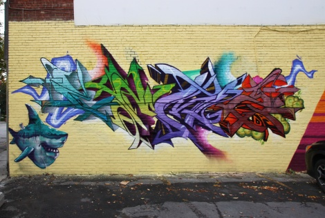 Cemz on letters and Axe on shark, in Hochelaga
