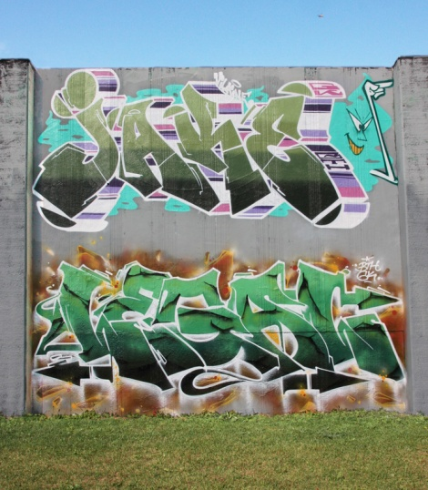 Jaker (top) and Legal (ground) for the 2017 Lachine legal graffiti wall jam