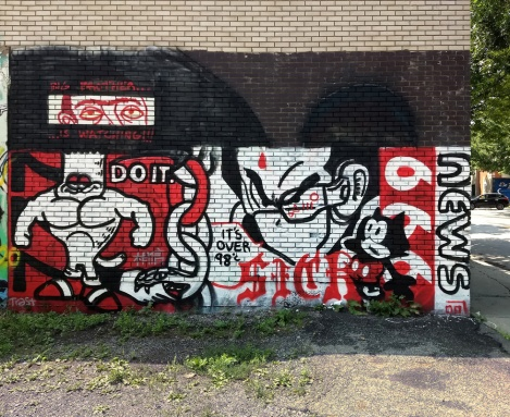 Germ Dee in Hochelaga. The eyes top left were salvaged from an earlier piece by Mono Sourcil