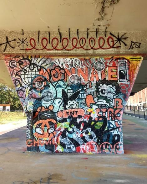 Germ Dee and Salvandalius collaboration on a Van Horne overpass pillar