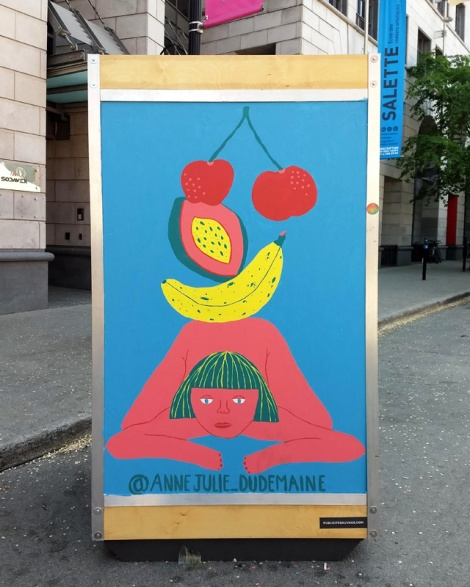 Anne-Julie Dudemaine on one of the info boards for the 2019 edition of Mural Festival