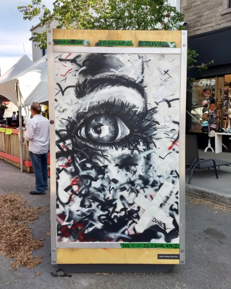Duval on one of the info boards for the 2019 edition of Mural Festival
