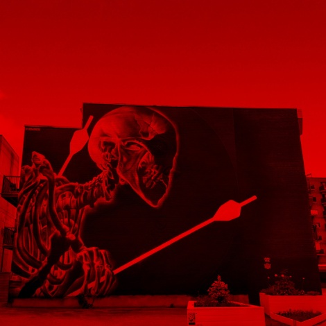 Insane51's contribution to the 2019 edition of Mural Festival, viewed through a red filter