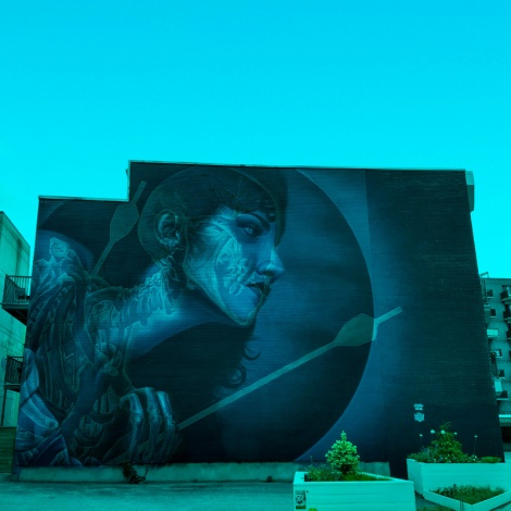 Insane51's contribution to the 2019 edition of Mural Festival, viewed through a blue filter
