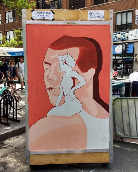 Leyem on one of the info boards for the 2019 edition of Mural Festival