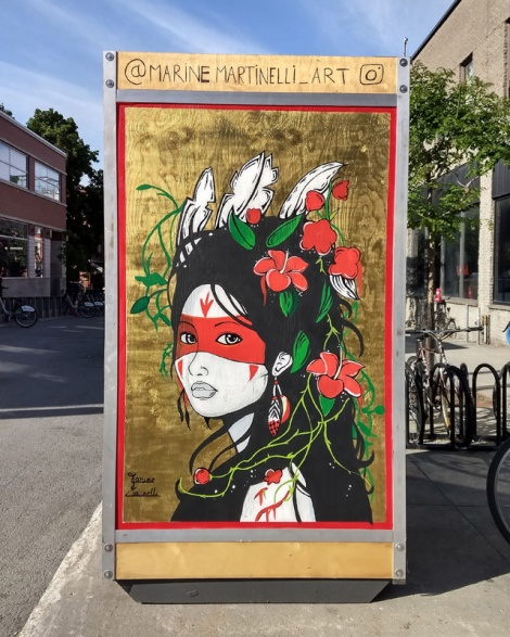 Marine Martinelli on one of the info boards for the 2019 edition of Mural Festival