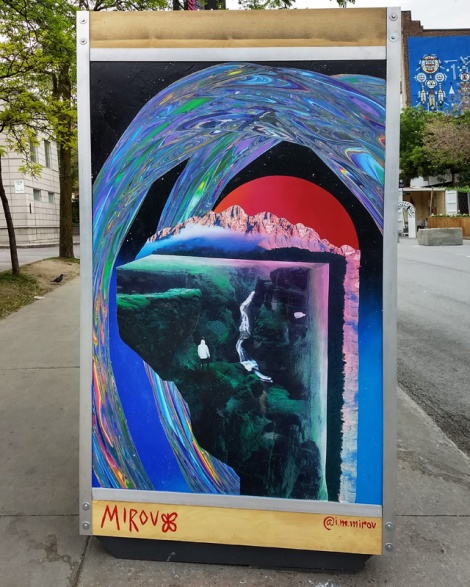 Mirov on one of the info boards for the 2019 edition of Mural Festival