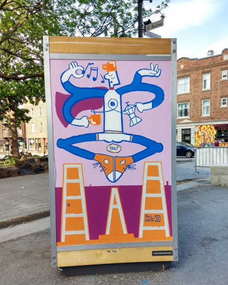 Phil Math on one of the info boards for the 2019 edition of Mural Festival