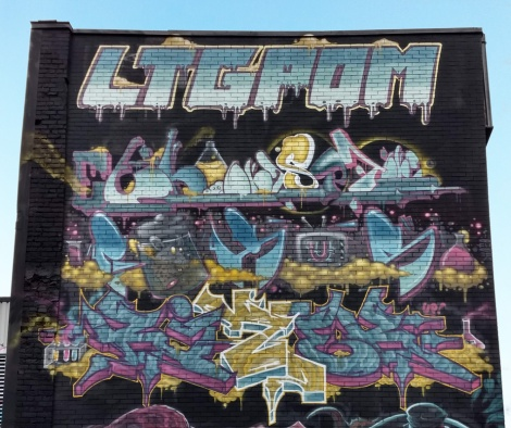 close-up on the pieces of EK Sept, Rizek and Fokus on the LTG/POM wall for the 2019 edition of Under Pressure